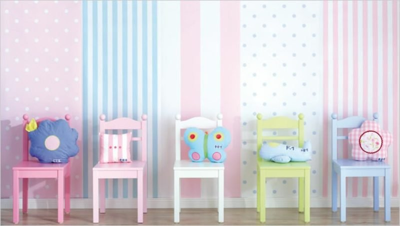 Kinderzimmer Tapeten Ideen Farbgestaltung Pastellnuancen