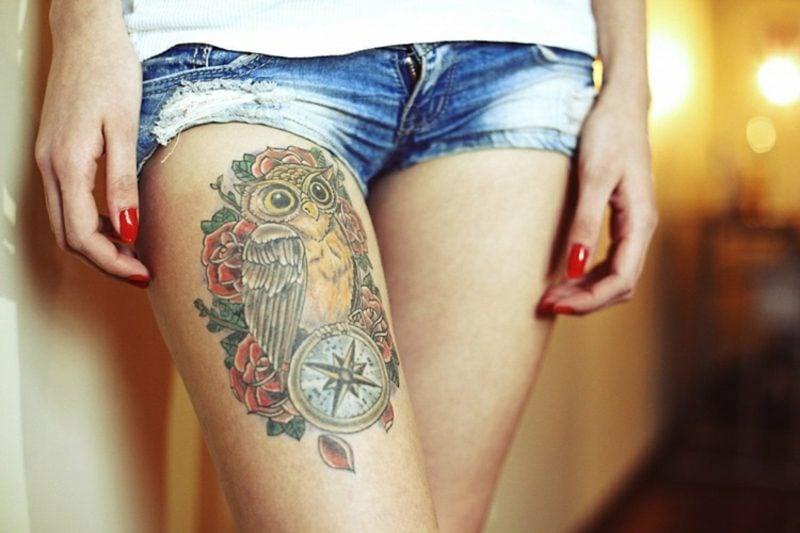 Kompass Tattoo Eule Bein herrlicher Look