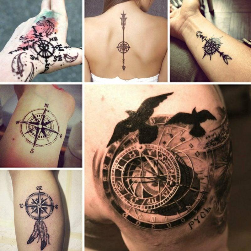 Kompass Tattoo modere Ideen und Anregungen