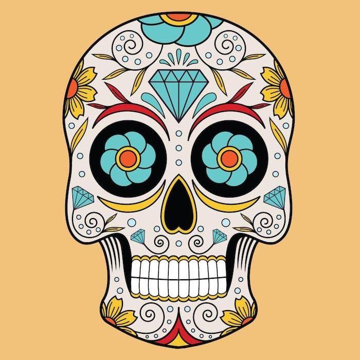 Tattoo Totenkopf mexikanisch Vorlage Diamanten