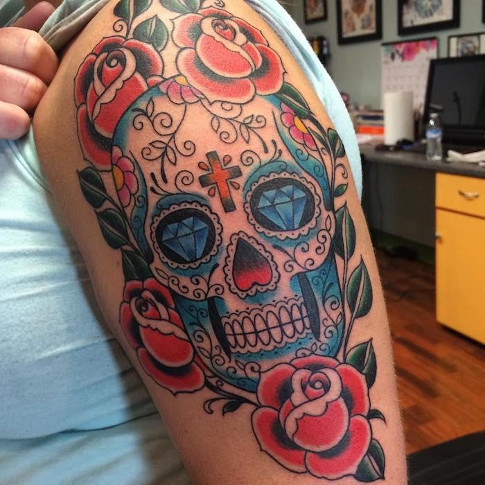 Tattoo Totenkopf mexikanisch Vorlage Oberarm Rosen