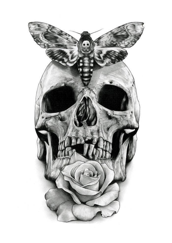 Tattoo Totenkopf mexikanisch Vorlage schwarz weiss Rose Schmetterling