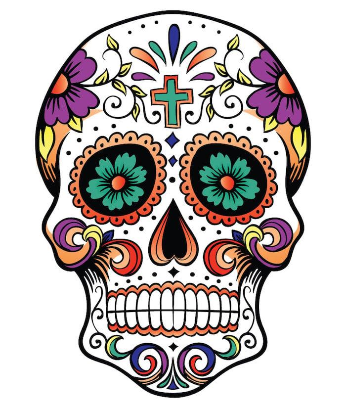 Tattoo Totenkopf mexikanisch Vorlage Blumen Violett Kreuz