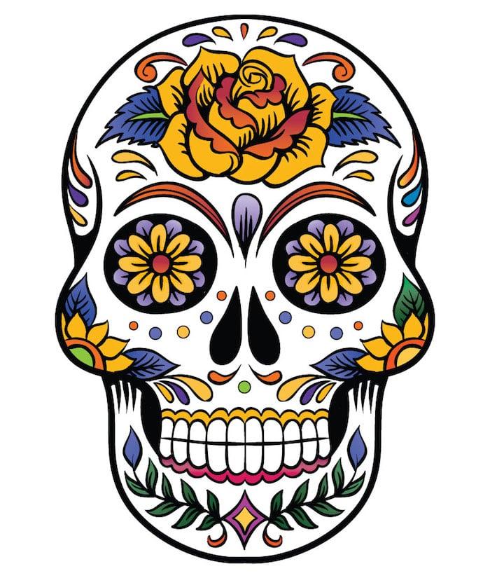 Tattoo Totenkopf mexikanisch Vorlage gelbe Rose