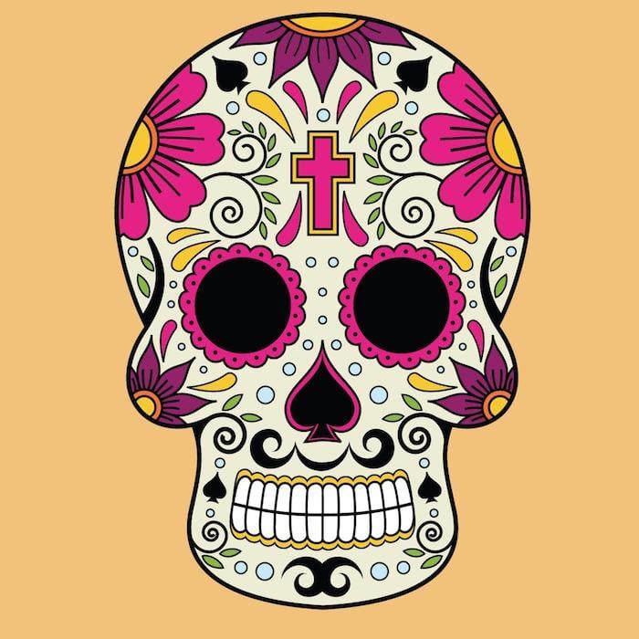 Tattoo Totenkopf mexikanisch Vorlage Kreuz lila Blumen