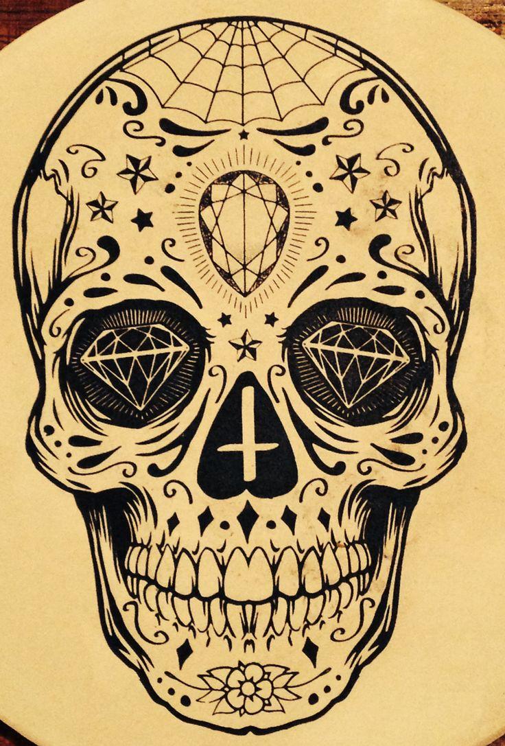 Tattoo Totenkopf mexikanisch Vorlage Diamanten Kreuz