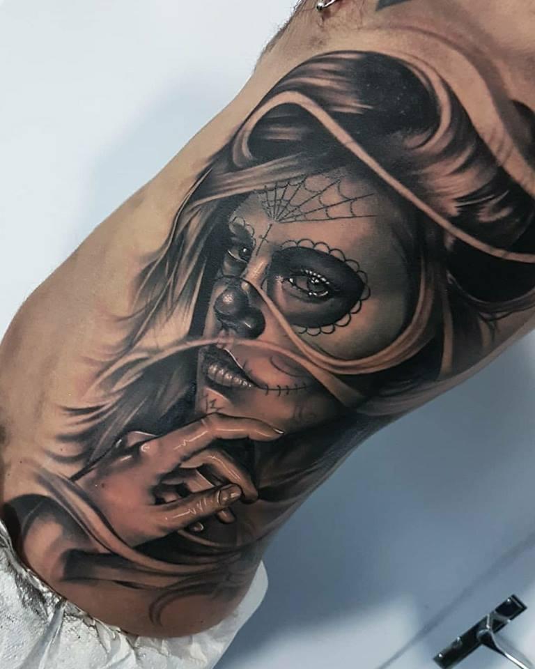 Tattoo Totenkopf mexikanisch Vorlage La Catrina