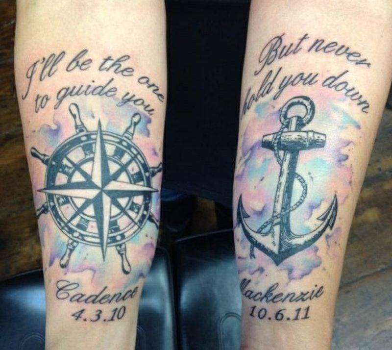 Kompass Tattoo mit Spruch Wasserfarben