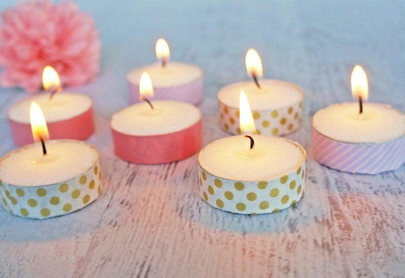 Bastelideen für Erwachsene Teelichter aufpeppen Washi Tape