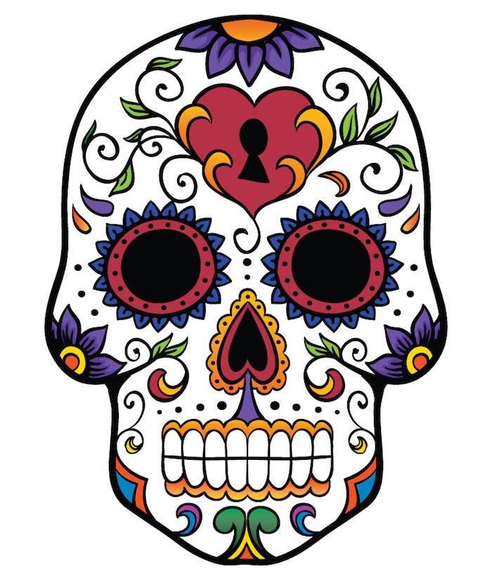 Tattoo Totenkopf mexikanisch Vorlage Herz