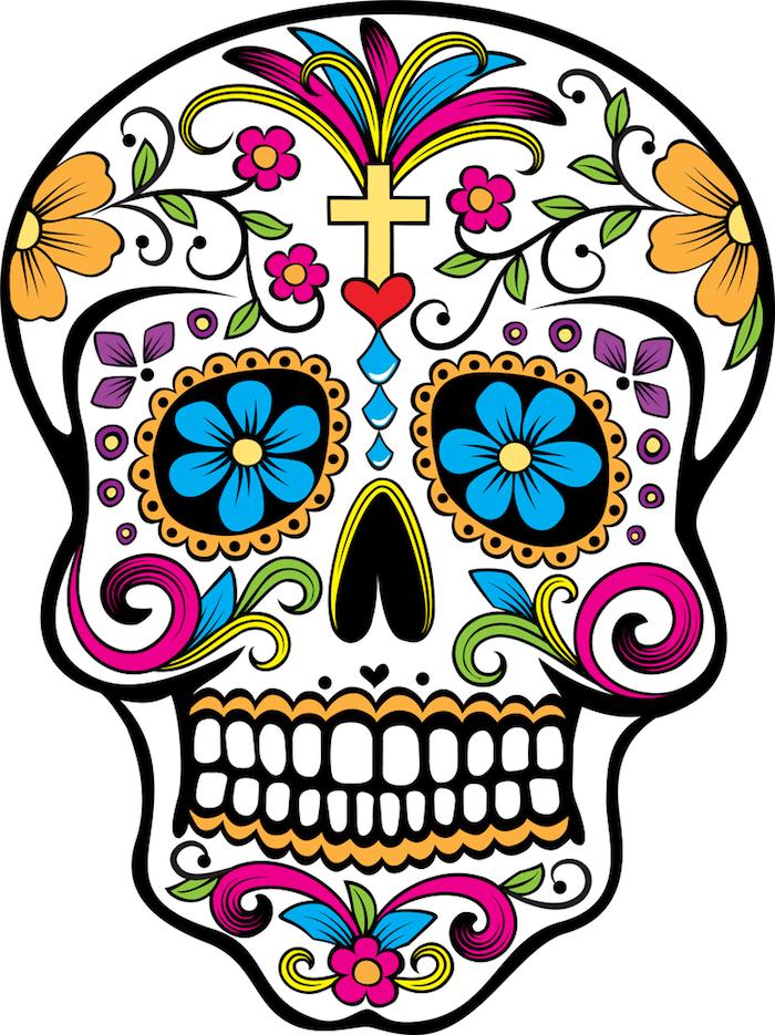 Tattoo Totenkopf mexikanisch Vorlage bunt blaue Blumen