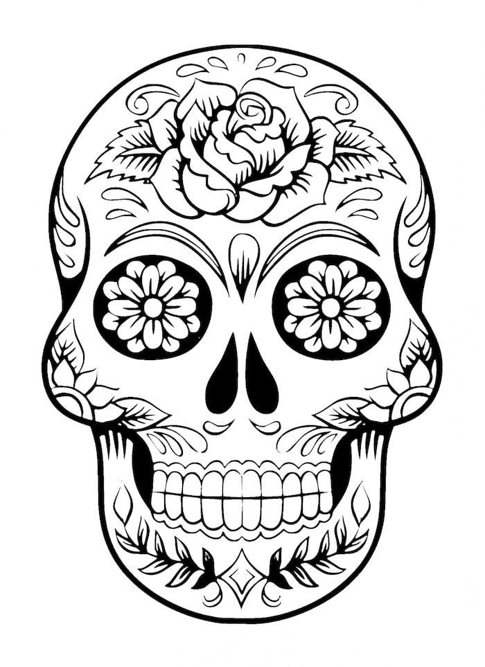 Tattoo Totenkopf mexikanisch Vorlage schwarz weiss