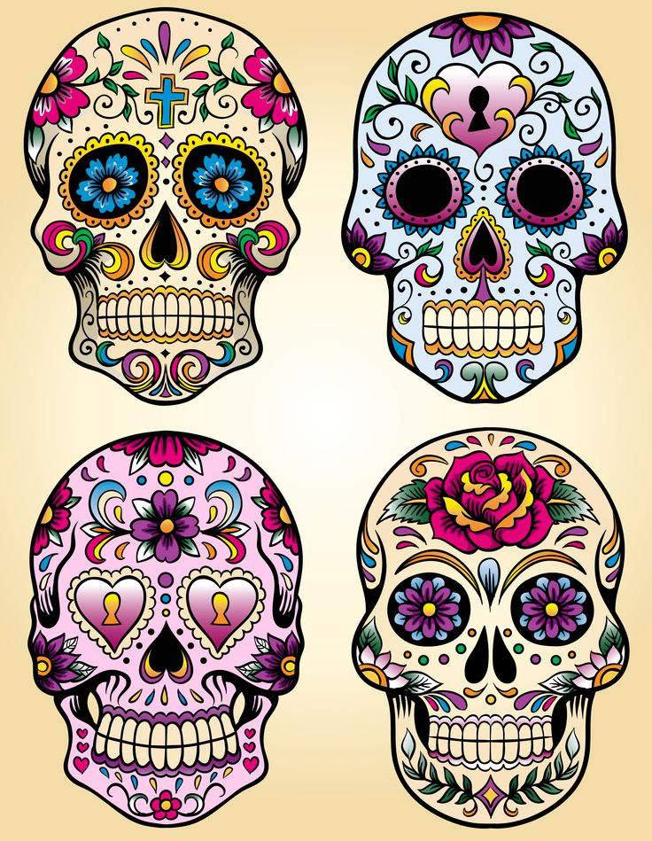 Tattoo Totenkopf mexikanisch Vorlage vier Ideen