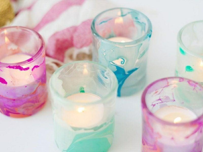 Bastelideen für Erwachsene Sommer Windlichter dekorieren Nagellack