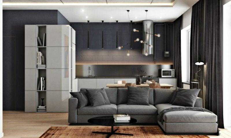 Wohnzimmer gestalten grau weiβ Ideen für modernes Ambiente