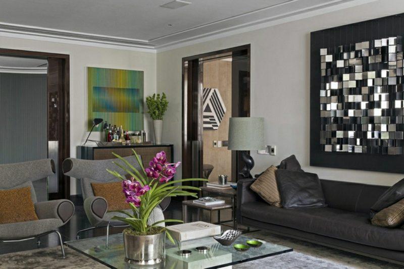 Wohnzimmer gestalten grau weiβ moderne Designideen