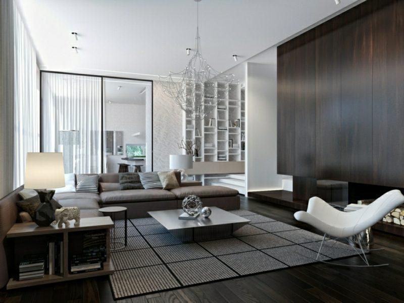 Wohnzimmer gestalten grau weiβ stilvolles Ambiente
