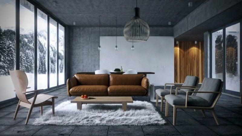 Wohnzimmer gestalten grau weiβ industriell braunes Ledersofa