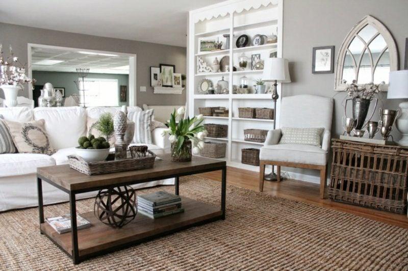 Wohnzimmer gestalten grau weiβ braune Akzente gemütlich