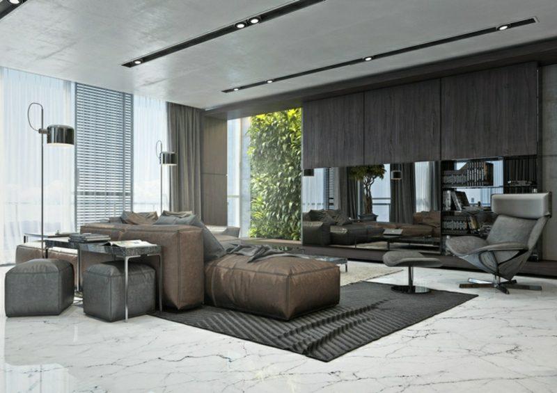 Wohnzimmer gestalten grau weiβ Marmorboden