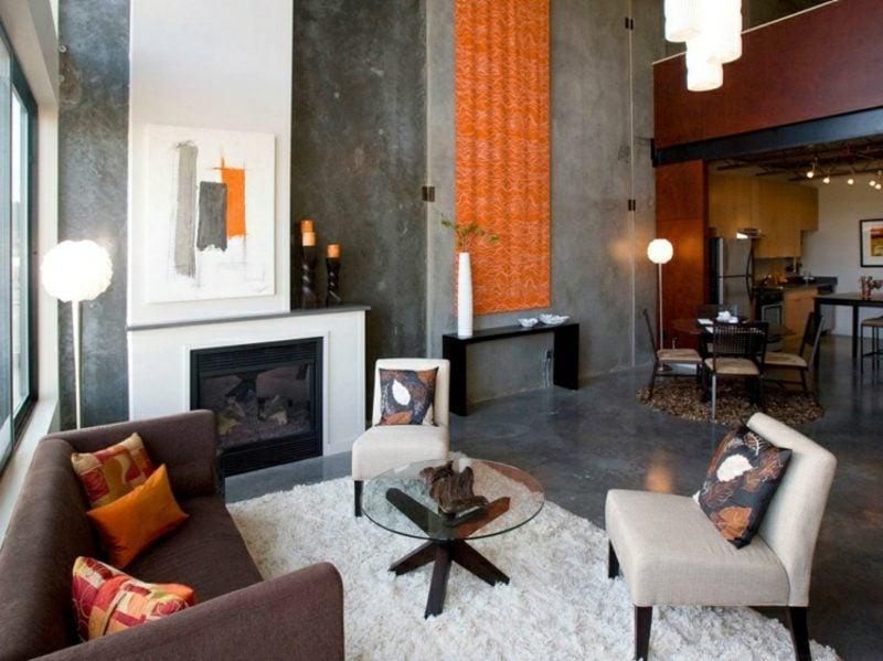 Wohnzimmer gestalten grau weiβ orange Akzente