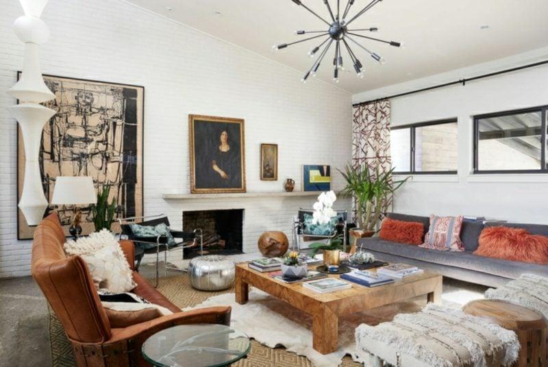 Wohnzimmer gestalten grau weiβ skandinavische Einrichtung wohnlich