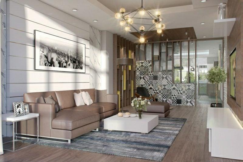 Wohnzimmer gestalten grau weiβ braune Akzente