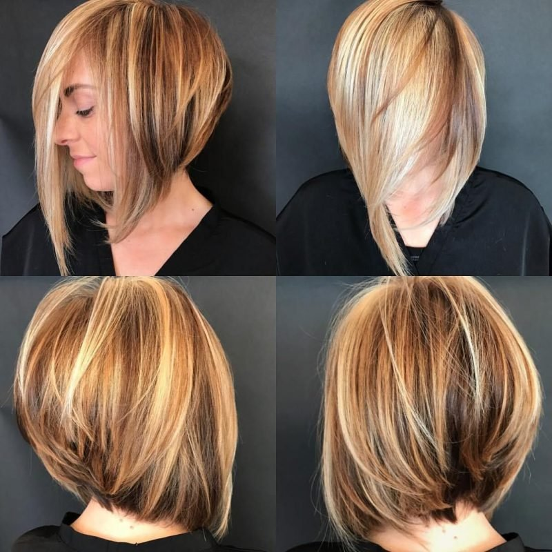 Bob Frisuren Hinterkopf gestuft Haare mittellang asymmetrisch geschnitten