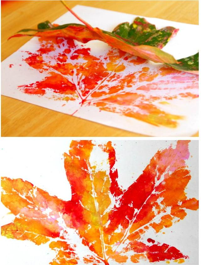 Basteln mit 2jährigen Kindern: Der Blätterdruck macht viel Spaß
