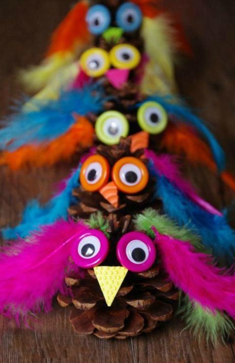 Herbstliche Ideen für Basteln mit Kindern mit Tannenzapfen
