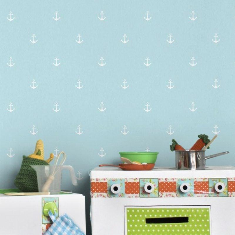 Kinderzimmer Tapeten Ideen Pastellblau