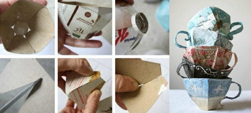 Pappmache selber machen Bastelideen dekorative Teetassen