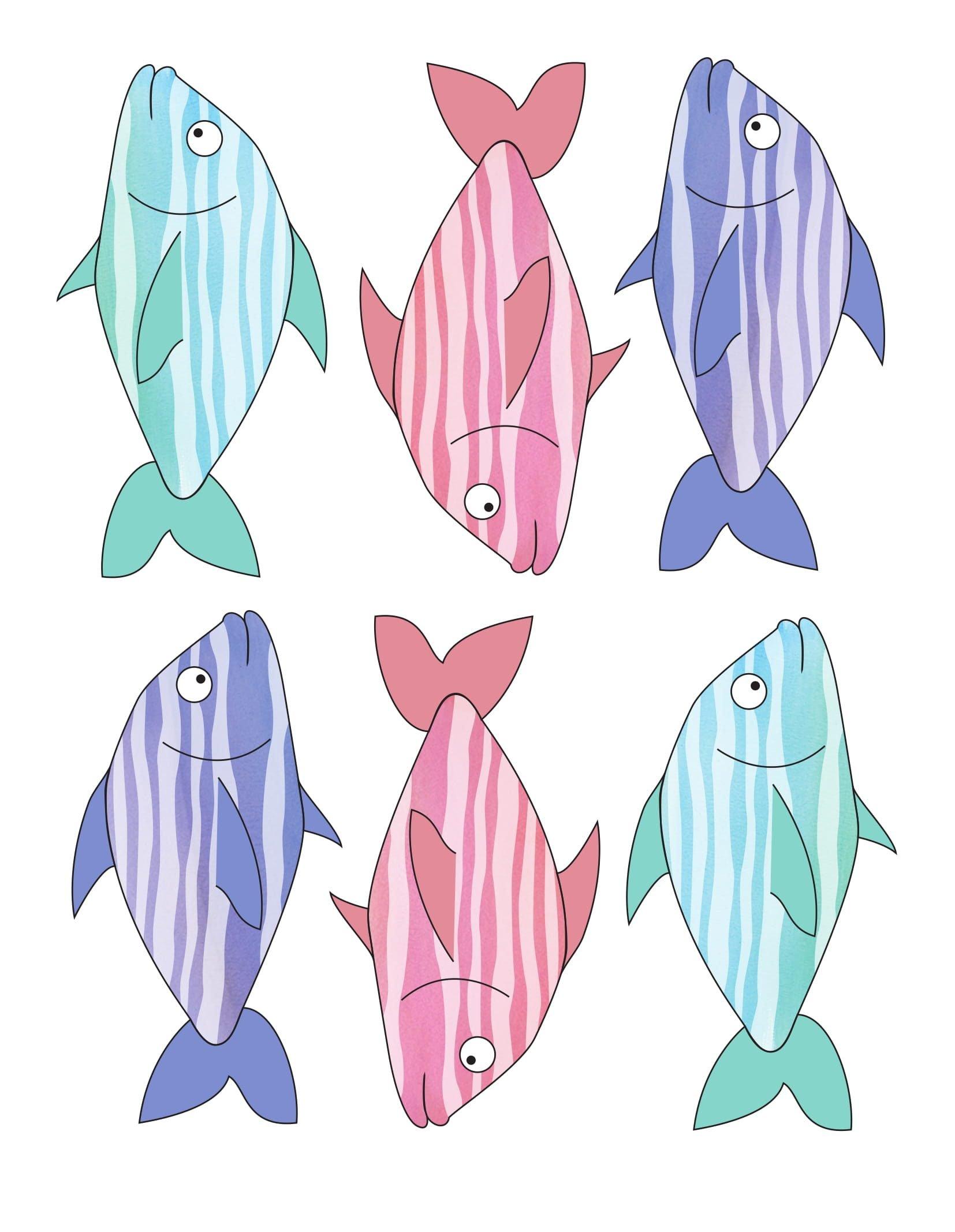 Kostenlose Bastelvorlage Fisch: Herunterladen, ausdrücken und ausschneiden