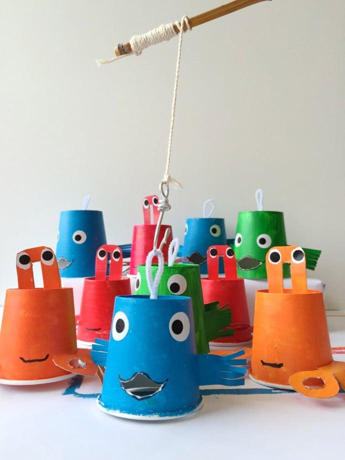 Tolle Fisch Bastelvorlage für Kinder