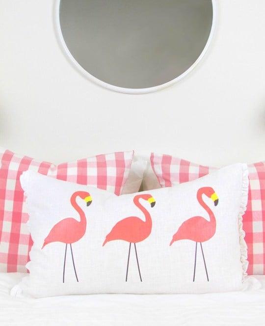 Textil Ideen fürs Wohnzimmer mit Flamingo Deko