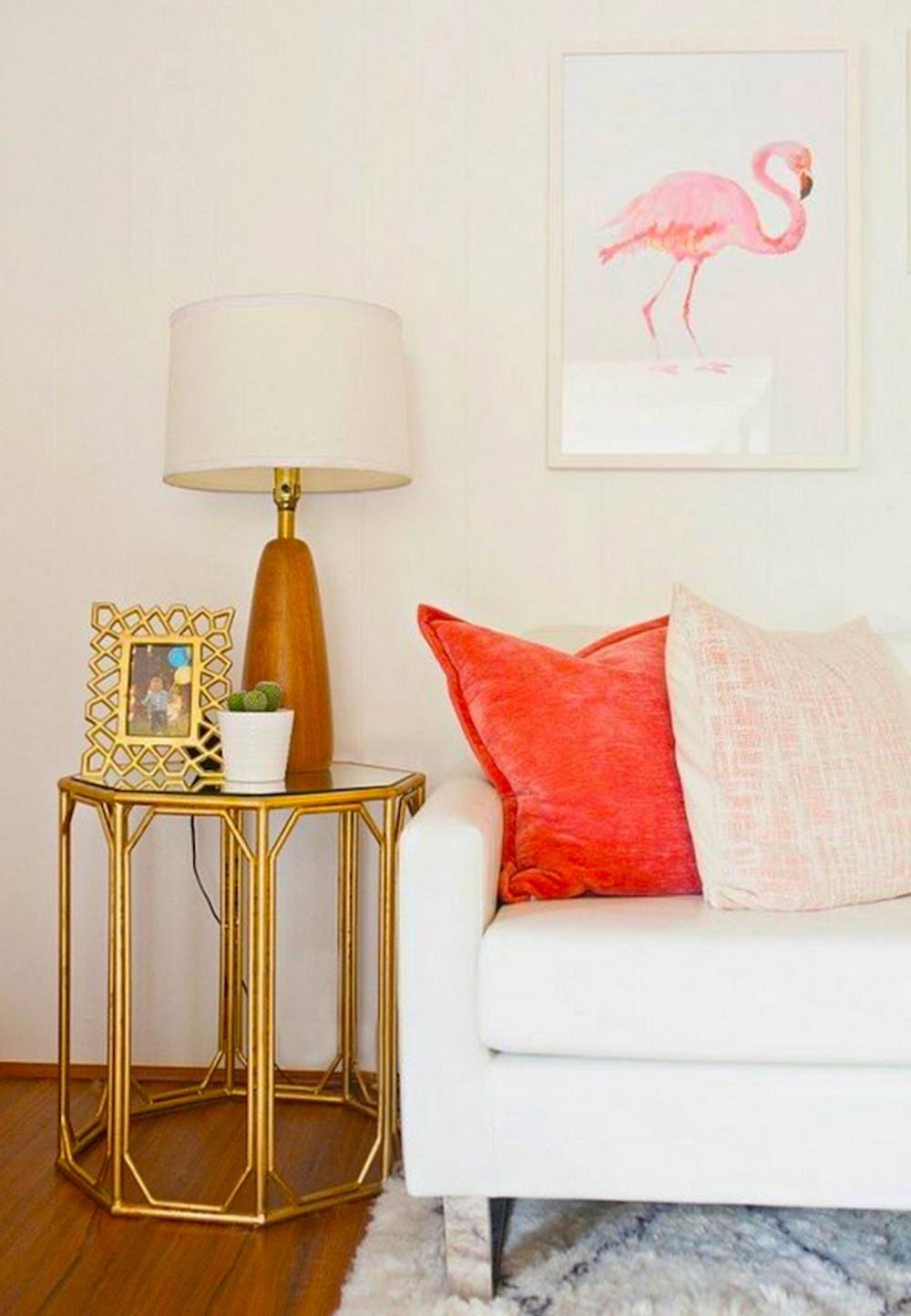 Wohnzimmer Ideen mit Flamingo Wanddeko