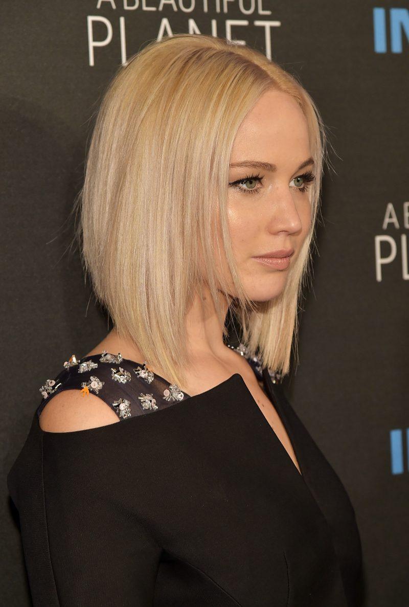 Bob Frisuren Hinterkopf gestuft Jennifer Lawrence