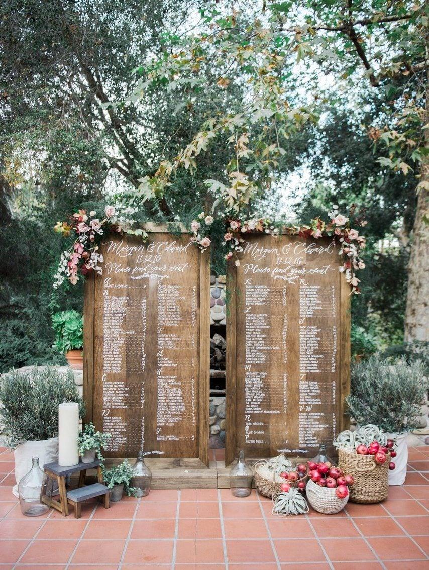 Vintage Deko Hochzeit: Ein hölzerner Sitzplan