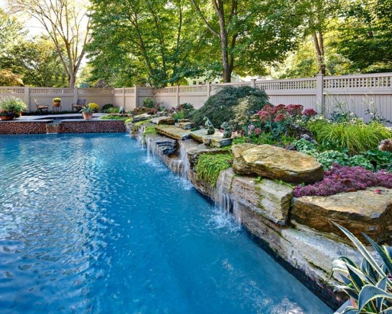 Gartengestaltung modern Wasserfall Pool