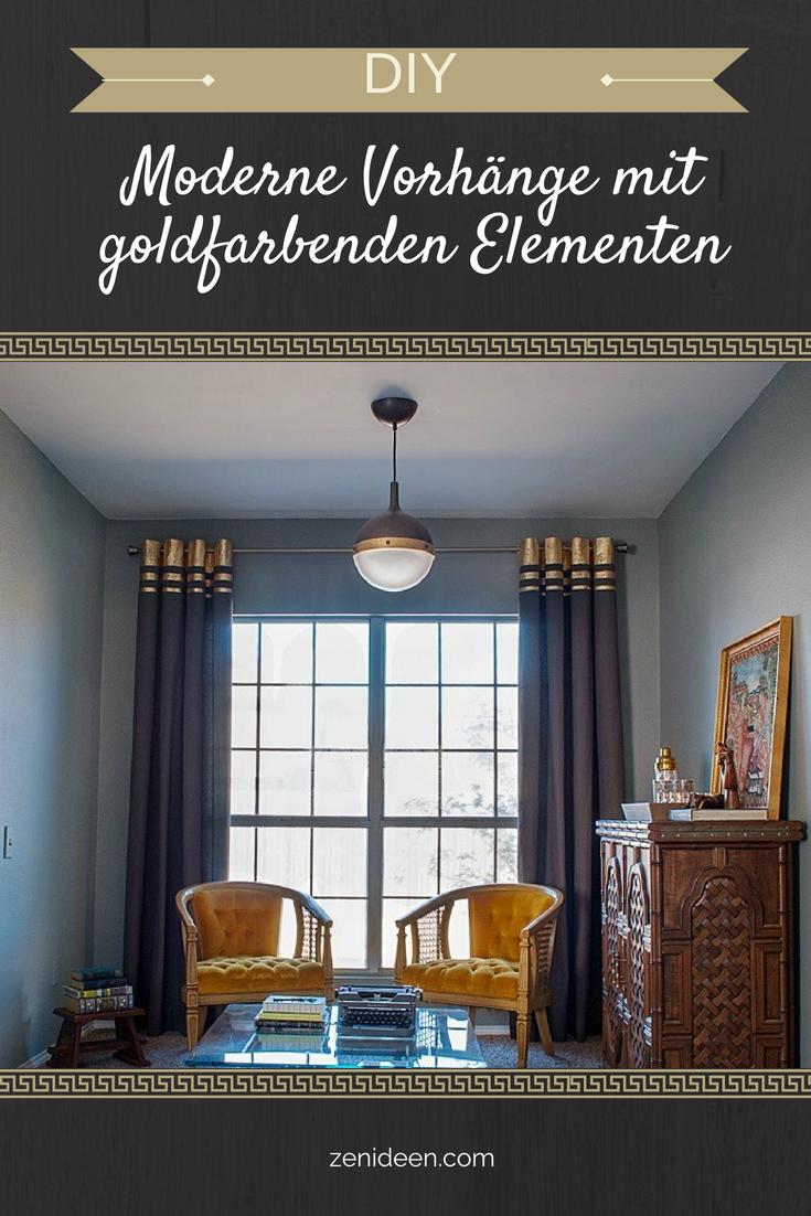 Vorhänge Wohnzimmer mit goldfarbenen Elementen