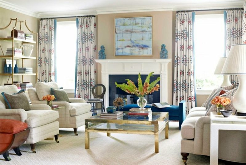 Gardinen Wohnzimmer weiss tolle Muster
