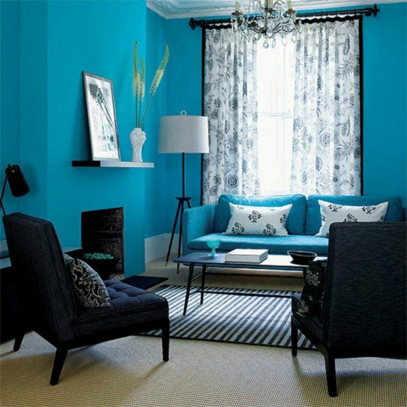 Gardinen Wohnzimmer Farbgestaltung Blau