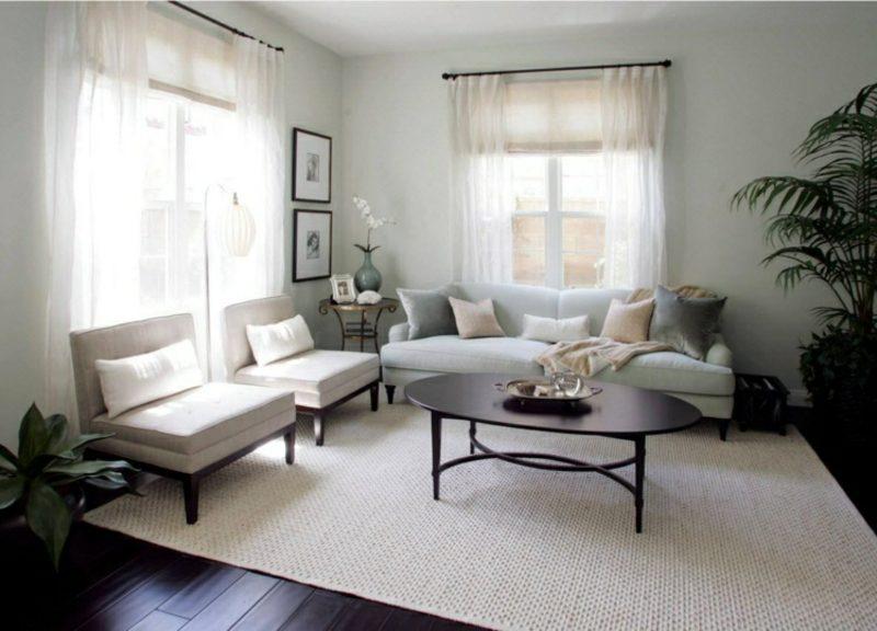 Gardinen Wohnzimmer neutrale farbgestaltung