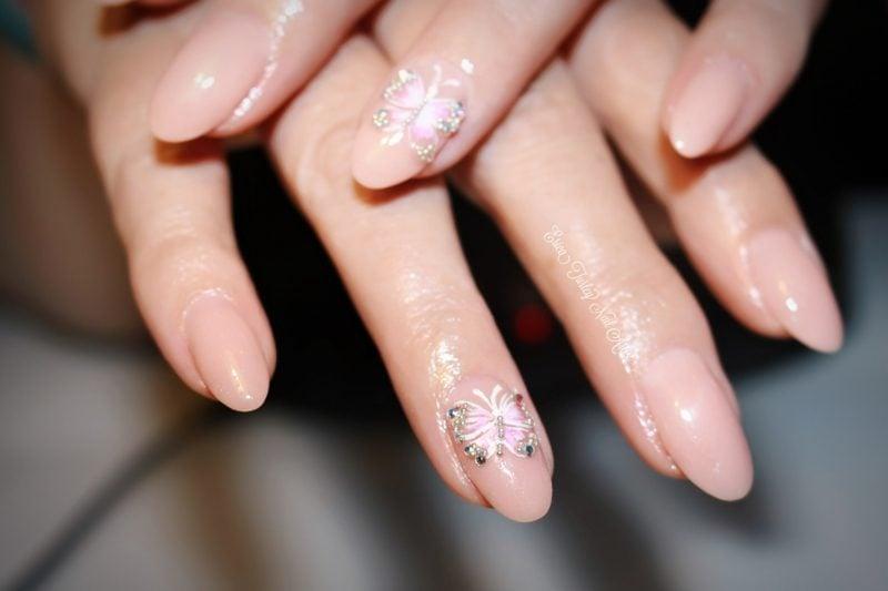 Acryl Nägel rosa Glitzer Schmetterling