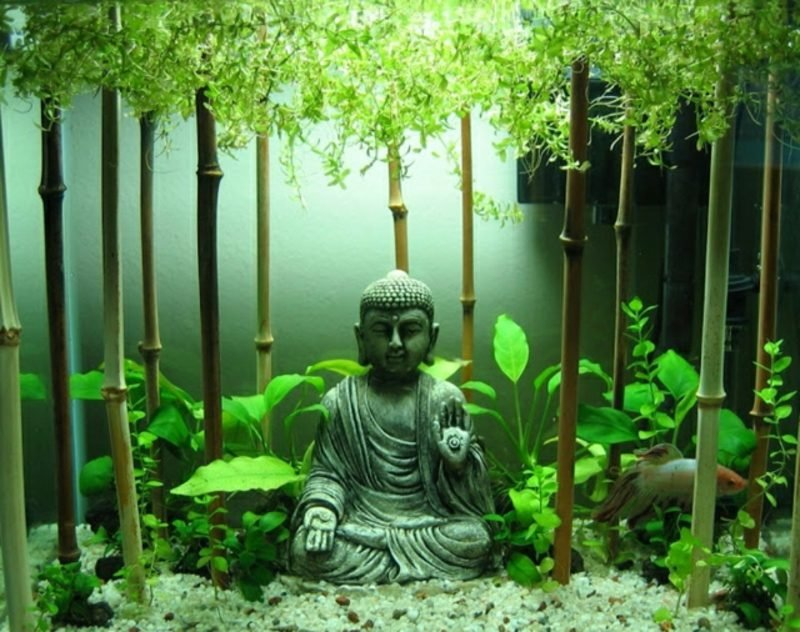 Aquarium Deko Buddha Figur Bambus
