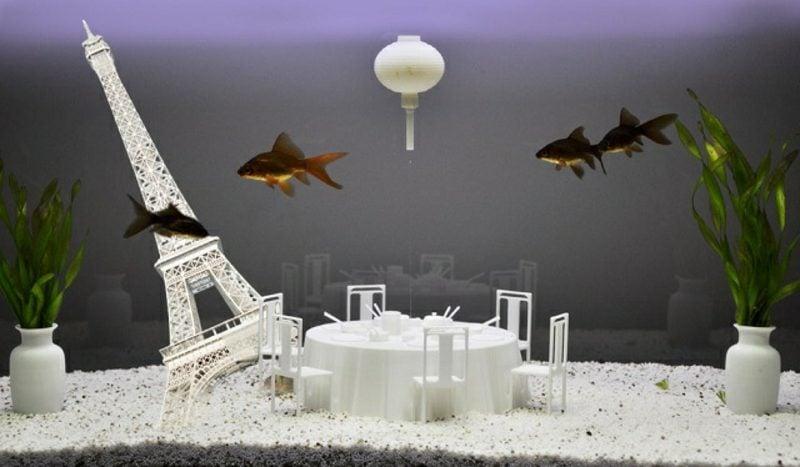Aquarium Deko ausgefallen Eiffelturm
