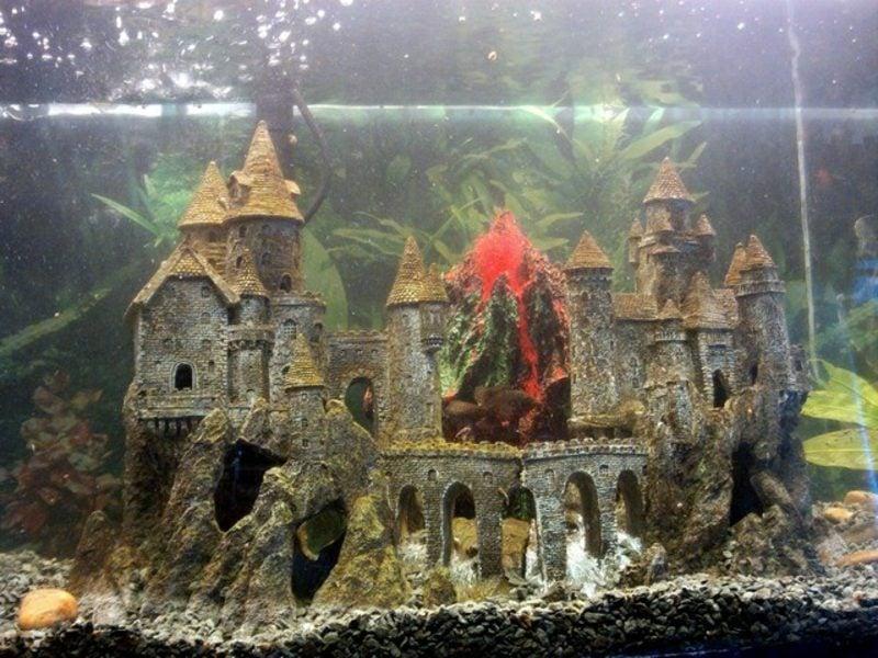 Aquarium Deko Schloss Vulkan