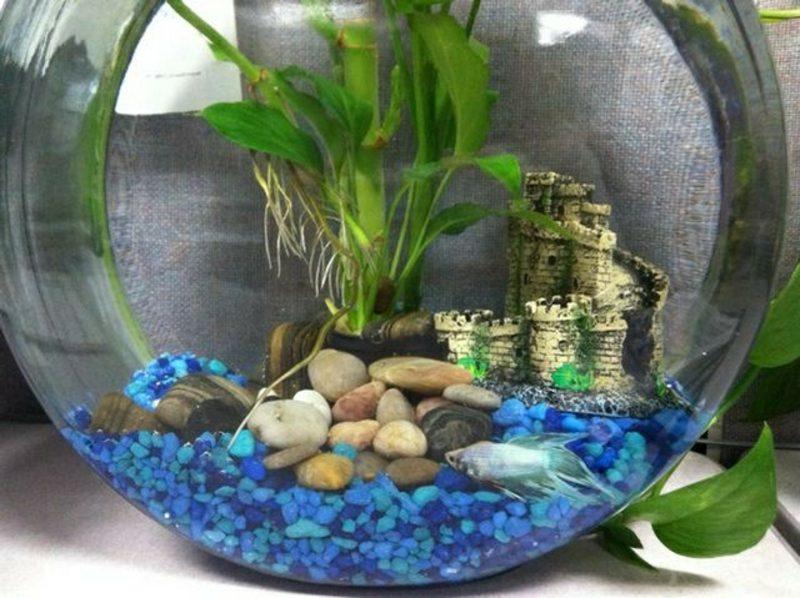 Aquarium Deko blaue Steinchen