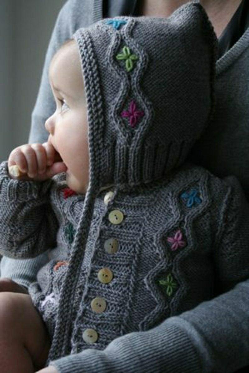 Baby Pullover stricken Kapuze Blumenmuster