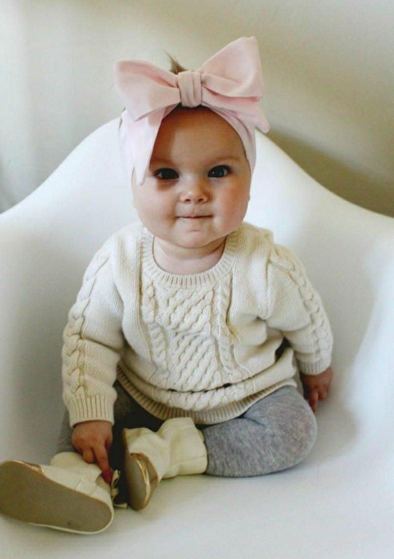 Baby Pullover stricken weiss kuschelweich